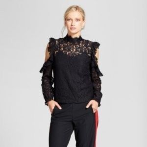Who What Wear Black Lace Cold Shoulder Top
